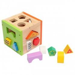 Fa formaválogató kocka készlet, bébijáték - Logikai fajátékok - Fajátékok