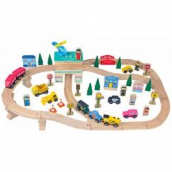 Vonatkészlet (66 db-os) - Fa játék - Fajátékok fiúknak - Fajátékok