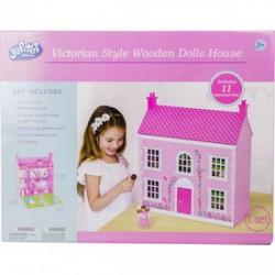 Rózsaszín fa házikó babával és bútorokkal - 58 cm - Fajátékok lányoknak - Fajátékok