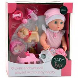 Baby Rose pisilós baba kiskutyával - Dolls World babák - Dolls World babák