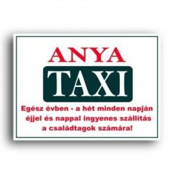 Rendszámtábla Anya taxi felirattal -Vicces meglepik -Vicces meglepik