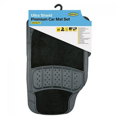 Ring Ultra Shield 5000 - PVC + Textil Autószőnyeg Szett - Fekete - SZŐNYEG ÉS CSOMAGTÉRTÁLCA