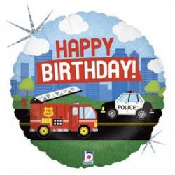 Happy Birthday járműves fólia lufi - 45 cm - Lufik - Lufik