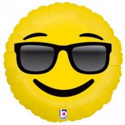 Napszemüveges Emoji fólia lufi - 46 cm - Lufik - Lufik