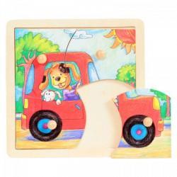 Fajáték: Fogantyús puzzle (4 db-os, autós) - Az első fajátékaim - Az első fajátékaim