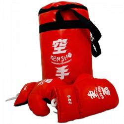 Piros boxzsák kesztyűvel - Sportjátékok - Sportfelszerelés Kensho