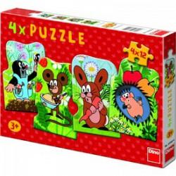 DINO - Puzzle Kisvakond 4 x 12 db-os DINO PUZZLE, TÁRSASJÁTÉKOK