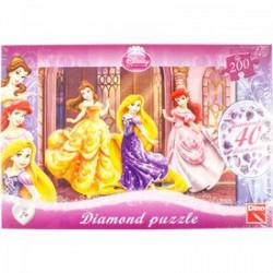 DINO - Puzzle 200 db-os Disney hercegnők csillogó kövekkel DINO PUZZLE, TÁRSASJÁTÉKOK
