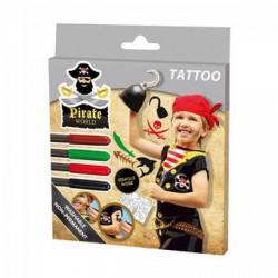 SES - Kalóz tetováló filctoll 4db+matricák 09662 - Tudomány és kreatív játék - SES kreatív játékok
