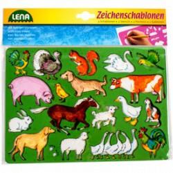 Lena háziállatok rajzolósablon 2 darabos készlet - Lena golyófuttató, pötyi, műanyag játékok - Lena golyófuttató, pötyi, műanyag játékok Lena