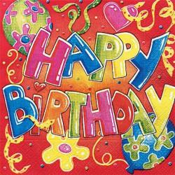 Szalvéta 33x33 cm, 20 db/csg, 3 rétegű Happy Birthday - Partykellékek, csomagolóanyagok - Partykellékek, csomagolóanyagok