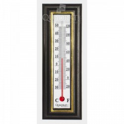 QUADRAT - Hőmérő, műanyag, barna, aranyszínű keret Otthon - Fürdőszobai kiegészítők