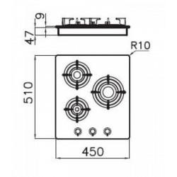 FOSTER - 7030142 beépíthető gázfőző, 3 gázégős FOSTER - Beépíthető készülékek