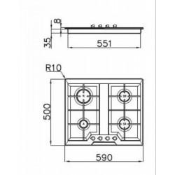 FOSTER - 7068042 beépíthető gázfőző, 4 gázégős FOSTER - Beépíthető készülékek