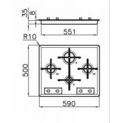 FOSTER - 7066052 beépíthető gázfőző, 4 gázégős FOSTER - Beépíthető készülékek