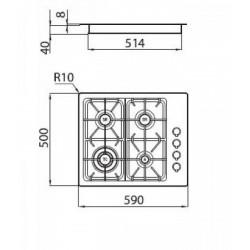 FOSTER - 7053062 beépíthető gázfőző, 4 gázégős FOSTER - Beépíthető készülékek