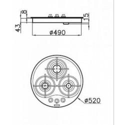 FOSTER - 7052442 beépíthető gázfőző, 3 gázégős FOSTER - Beépíthető készülékek