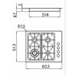 FOSTER - 7244062 beépíthető gázfőző, 4 gázégős FOSTER - Beépíthető készülékek