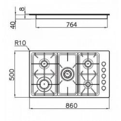 FOSTER - 7055062 beépíthető WOK gázfőző, 5 gázégős FOSTER - Beépíthető készülékek