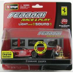 Bburago - Ferrari 599XX ezüst 1:43 Race & Play light and sound játékszett Játék - Burago autós szettek, autók