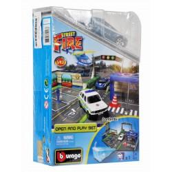 Bburago - 1:43 Race & Play street fire rendőrségi játékszett - Burago autós szettek, autók - Burago autós szettek, autók