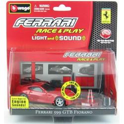 Bburago - Ferrari 599GTB Fiorano fekete 1:43 Race & Play light and sound játékszett - Burago autós szettek, autók - Burago autós szettek, autók