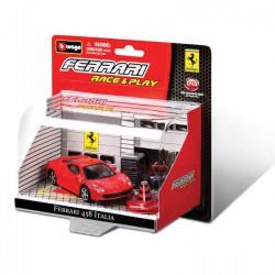Bburago - Ferrari 458 Italis 1:43 Race & Play fekete autó - Burago autós szettek, autók - Burago autós szettek, autók