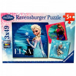 Ravensburger - Disney hercegnők: Jégvarázs 3 x 49 db-os puzzle Játék - Kirakók, puzzle-ok