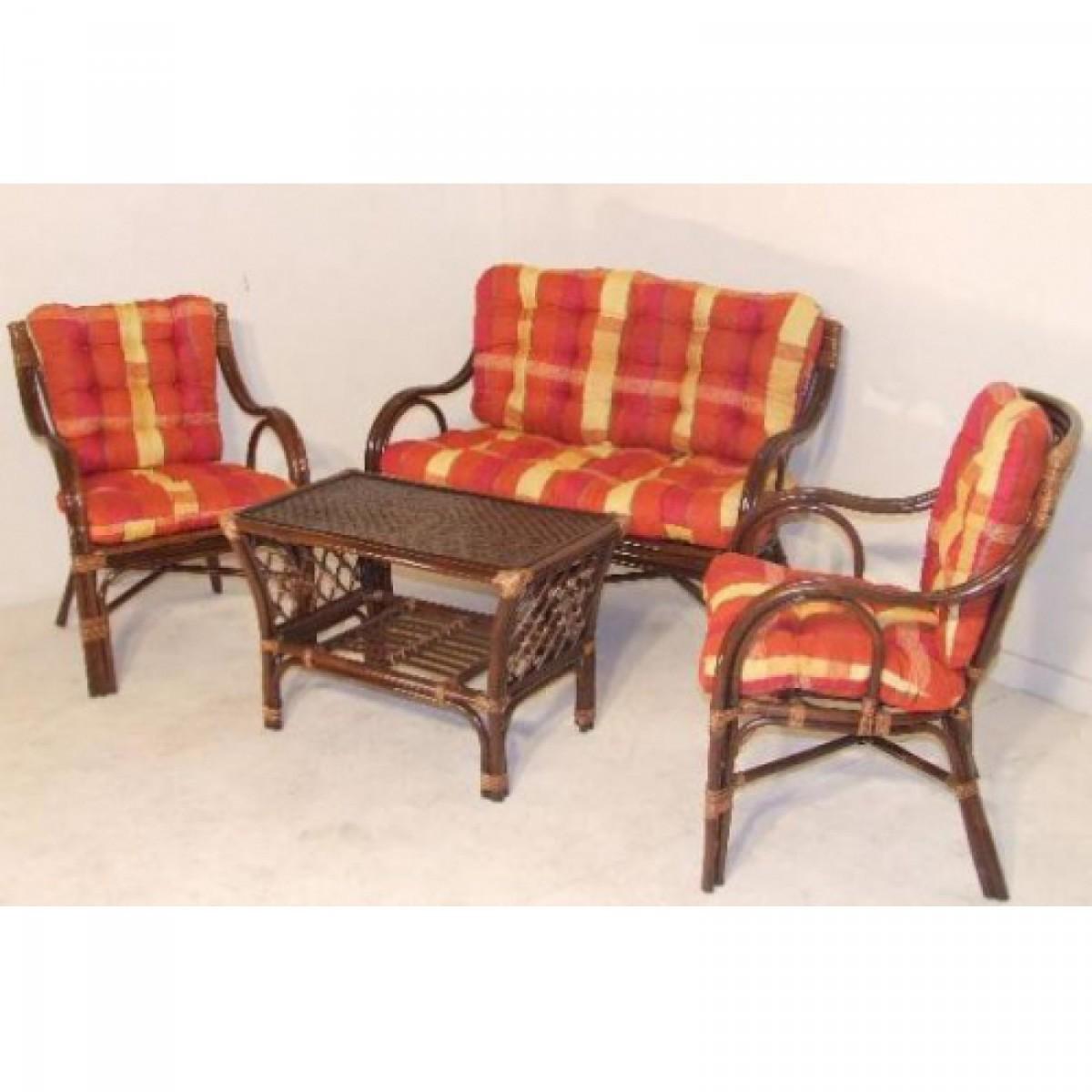 Rattan ülőgarnitúra - Asztal+kanapé+2fotel (Bodrum) - barna ...