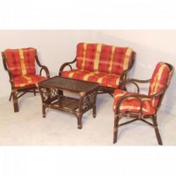Rattan ülőgarnitúra - Asztal+kanapé+2fotel (Bodrum) - barna - Indonéz rattan bútorok - Indonéz rattan bútorok
