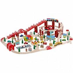 Vonatkészlet (126 db-os) - fa játék - Fajátékok fiúknak - Fajátékok