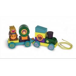 Oops - Húzható fa vonat - erdőlakók - Oops bébijátékok - Bébijátékok