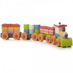 Vonat 37 darabos fa építőjáték - CUBIKA bébijátékok - Az első fajátékaim CUBIKA