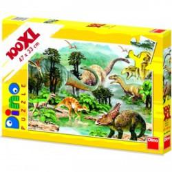 DINO - Dinoszauruszok 100 darabos XL puzzle - Dino puzzle, társasjátékok - Dínós játékok