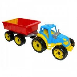 Műanyag traktor utánfutóval - 53 cm - Bébijátékok