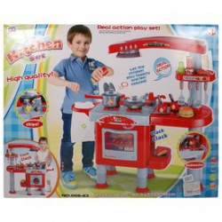 Játékkonyha 33 kiegészítővel - piros, nagy - Konyhák - Konyhák