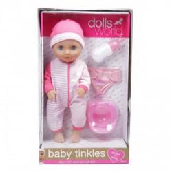 Baby Tinkles baba, 38 cm, iszik-pisil, kiegészítőkkel rózsaszín, vagy kék színben - Dolls World babák - Dolls World babák Dolls World