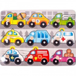 Autók 9 darabos fa puzzle - Logikai fajátékok - Fajátékok