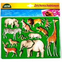 LENA Egzotikus állatok rajzolósablon 2 darabos készlet - Lena golyófuttató, pötyi, műanyag játékok - Lena golyófuttató, pötyi, műanyag játékok Lena