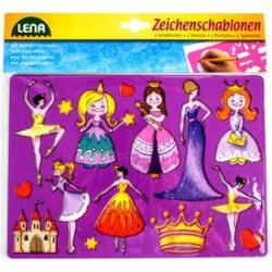 LENA Hercegnős rajzolósablon 2 darabos készlet - Lena golyófuttató, pötyi, műanyag játékok - Lena golyófuttató, pötyi, műanyag játékok Lena