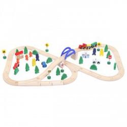 Fa vonat 70 darabos készlet - Fajátékok fiúknak - Fajátékok