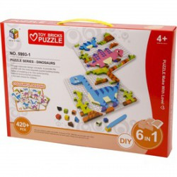 Mozaik képkirakó, 420 darabos, 6 az 1-ben - dínók - Kirakók, puzzle-ok - Kirakók, puzzle-ok