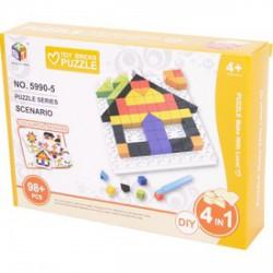 Mozaik képkirakó, 128 darabos, 4 az 1-ben - házak - Kirakók, puzzle-ok - Kirakók, puzzle-ok