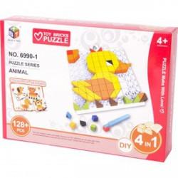 Mozaik képkirakó, 128 darabos, 4 az 1-ben - állatok - Kirakók, puzzle-ok - Kirakók, puzzle-ok