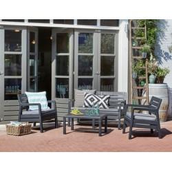 Curver 221538 Delano set kerti bútor garnitúra, grafit-világos szürke párnával - MŰANYAG rattan garnitúrák - KERTI bútorok Curver