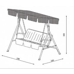 Gardenwell 41049 Mykonos hintaágy, piros - KERTI bútorok - KERTI bútorok Gardenwell